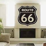 Pared de vinilo Retro de la ruta 66Road Sign pared vinilo adhesivo para dormitorio pared vinilo adhesivo (negro, grande) por mairgwall