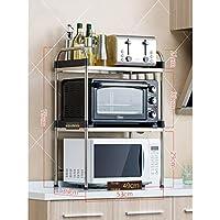 RFJJAL Soporte para horno de microondas de cocina de acero inoxidable 304  de 2 niveles 43a5ee644956