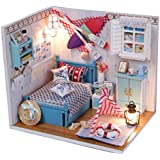 Fancyku Mini Wooden Dollhouse Toy Miniature Wooden Doll Cottage Model DIY Kit With Furniture Lamp Household Display Decoration Creative Gifts-Warm Little House