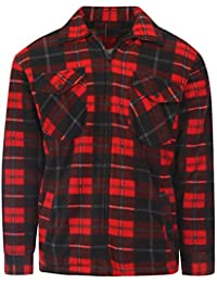 56fbbb293800b Myshoestore Mens Padded Check Shirt Sherpa Fur Lined Lumberjack Collared  Flannel Quilted Work Jacket Warm Thick