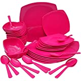 Homray Microwave Safe, Unbreakable Square Dinner Set, 36 Pieces (Pink)