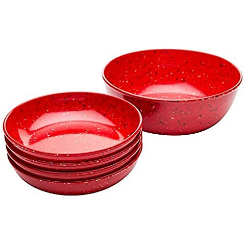 Zak! Designs Confetti Pasta Serving and Individual Bowls (5-Piece Set), BPA-free Melamine, Red by Zak