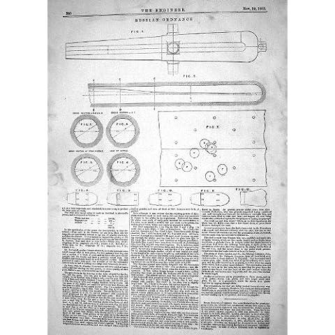 La Impresión Antigua de la INGENIERÍA 1863 DIAGRAMAS RUSOS de la ARTILLERÍA ABOZALA EL CORTE TRANSVERSAL