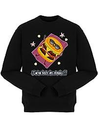 Pull Humoristique - Collection Humour et Fun par okiWoki - J'm'en bats les steaks !! - Pull Noir - Haute Qualité (878)
