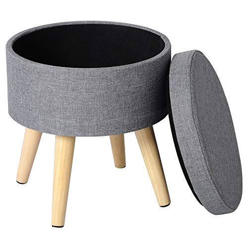 WOLTU Sitzhocker mit Stauraum Fußhocker Aufbewahrungsbox, Deckel Abnehmbar, Gepolsterte Sitzfläche aus Leinen, Massivholz, Hellgrau, SH08hgr-1