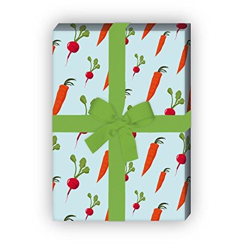 Leckeres Gemüse Geschenkpapier Set (4 Bogen) Dekorpapier mit Möhren, Karotten und Radieschen für Geschenk Verpackung zu Geburt, Ostern, Geburtstag, Hochzeit, Weihnachten 32 x 48cm, hellblau