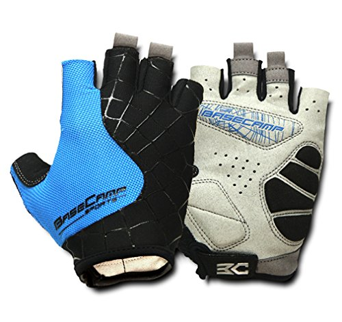 FreeMaster Fingerless Cycling Gloves Mountain Road Bike Bicycle Gloves (Blue, L)