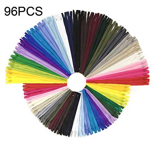 Wartoon Reißverschluss, 24 Farben Nylon Reißverschlüsse, 20cm und 30cm lang, 2.5cm breit für Kleidung Tasche Mäppchen Kissenbezug, 96 Stück - Groß Reißverschluss