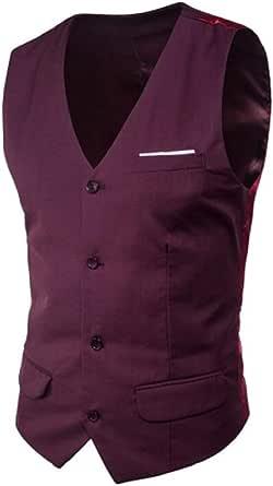 GRMO Men Big & Tall Slim Fit 4 Business V-Neck Button Sleeveless Suit Vest Waistcoat
