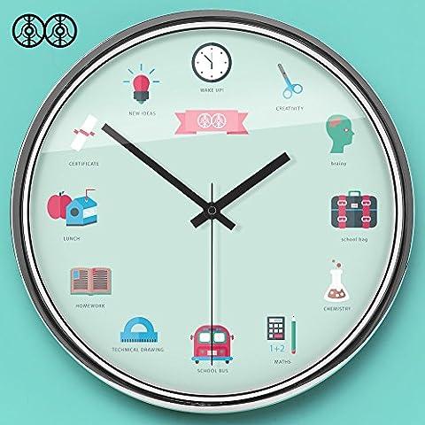 Silence @ moderne coloré Creative silencieuse Horloge murale Dessin animé Illustration, The Mirror Box, 30,5cm