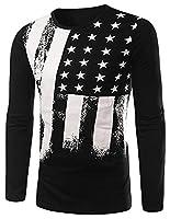 EKU Men's Fashion Flag Print Crewneck T-Shirt Tees Tops Black US S