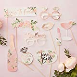 Ginger Ray Floral Rose Gold Foiled Hen Party Photo Booth Props -10 Pack - Floral Hen Party