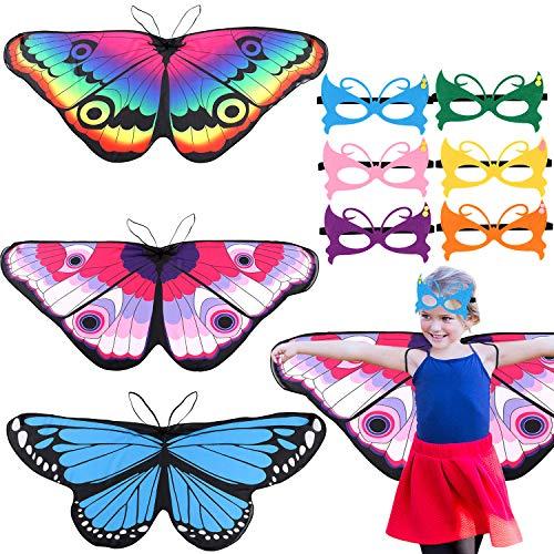 vamei 3stk. Schmetterlingsflügel Kostüm Kinder Flügel Kostüm 6stk. Maske Schmetterling Kostüm Schmetterling Pixie Cape Mädchen Poncho für Cosplay Halloween - Schmetterling Kostüm Mädchen