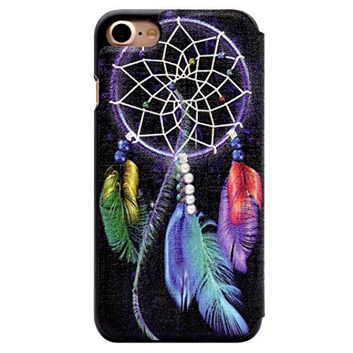 iPhone 7 Flip Cover, iPhone 7 Handyhülle mit Lanyard, iPhone 7 Bumper Flip Case, Moon mood® Mit Diamanten Ledertasche Brieftasche für iPhone 7 (4.7 Zoll) ,PU Leder Hülle Wallet Case Folio Schutzhülle  W-Traumfänger