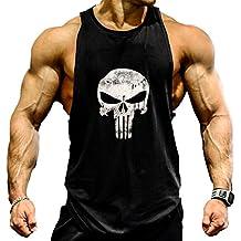 A. M. Sport Camisa Camiseta Hombre Tirantes Culturismo Fitness Deportiva. Ropa Deporte Masculina Para Entrenar Gym (Castigador/Negra)