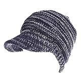 W&Z Maglia Cappello con Coda di Cavallo Berretto Cappelli Invernali con Orlo per Le Donne Morbido Stretch Maglia Cappuccio per Alta Coda di Cavallo panino,Blue