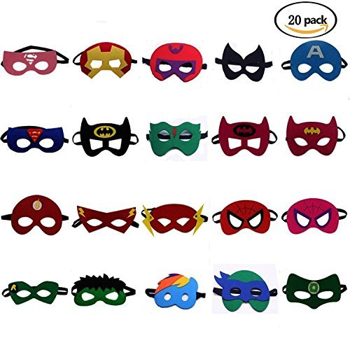 U&X Superheld Masken Super Masken Weihnachten Halloween Maske Superheld Cosplay Party Augenmasken 20 Stück Filz Masken Masken - latexfrei, perfekt für Kinder ab 3 - Coole Superhelden Kostüm Kinder