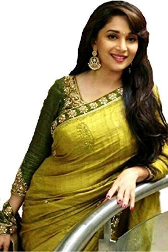 Sarees (Women\'s Clothing Saree For Women Latest Design Wear Sarees New Collection in Multi-Coloured Silk Material Latest Saree With Designer Blouse Free Size Beautiful Bollywood Madhuri Saree For Wom