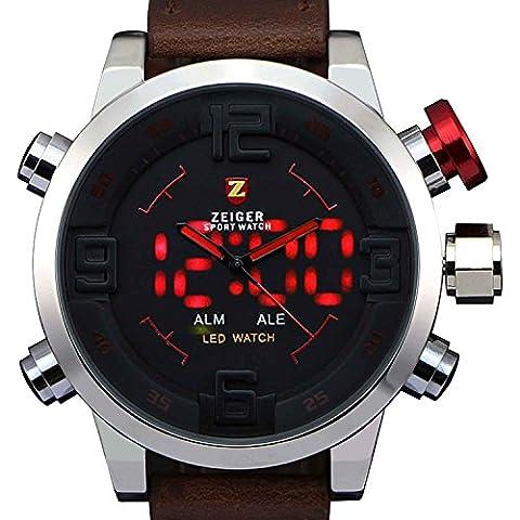 Neuf Montre pour homme Sport alarme Date LED double temps Digital Analogique Horloge à quartz k391