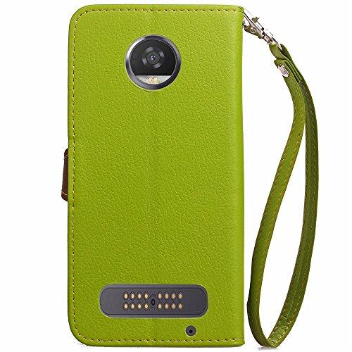 EKINHUI Case Cover Mix und Match Color Leaf Magnetic Buckle PU Ledertasche Brieftasche Stand Pouch Cover mit Lanyard für Motorola Moto Z2 Play ( Color : Red ) Green