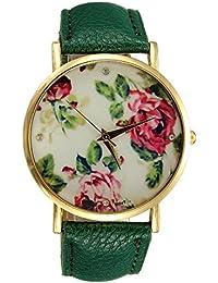 Watch - Geneva Bracelet Watch Rose Flower Dial PU Leather Quartz Woman Jewelry Gift Wrist Watch Dark green