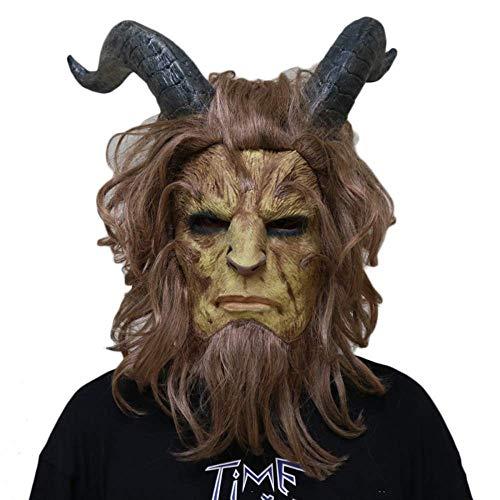 Kostüm Für Scary Teenager Jungs - XBYUK Schöne Und Biest Cosplay Maske Halloween Maskerade Kopf Cosplay Filmkostüm Requisiten Biest Prinz Latex Kopfbedeckung Maske , One Size