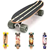 Arancione//Nero - Senza LED + T-Tool Retro Mini Cruiser FunTomia/® Skateboard 57cm Big Wheel Ruote 70x42mm