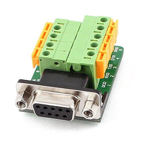 DB9 Weiblich Adapter - TOOGOO(R)DB9 RS232 seriell Weiblich Adapter Plate 9 Position Reihenklemme Schwarz + Gruen + Gelb (Modul Db9 Buchse)