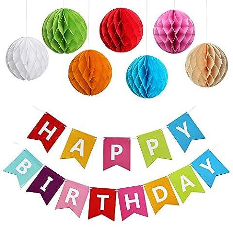 KUNGYO Happy Birthday Joyeux anniversaire Décorations de fête Bunting Drapeaux Bannière Avec 7 Paquets Pompon Papier de Soie Boules de Fleur