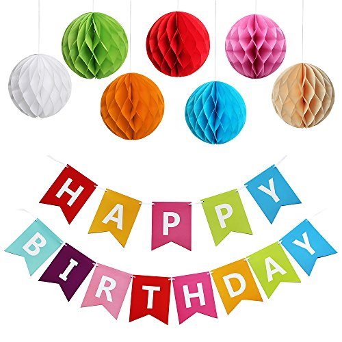 KUNGYO Happy Birthday Alles Gute zum Geburtstag Party Dekorationen Bunting Flags Banner, Set von 7 Stück Regenbogen Farbe Tissue Papier Pom Poms (50th Birthday Party Dekorationen)
