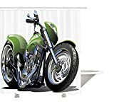 Yeuss Colección de decoración de Motocicleta, diseño de Motocicleta con Engranajes supremos de Lujo y neumáticos de Metal. Estilo de Vida Urbano, Tela de poliéster, Cortina de baño, Plata Verde.