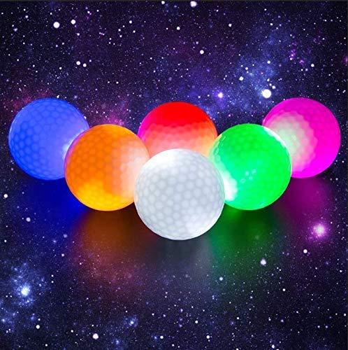Crestgolf 6 Stück LED Light Up Golfbälle Nachtgolfball Offizielle Größe Glow In Dark Perfekt für Golf-Langstreckenschüsse (pink/rot/blau/grün/orange/weiß)