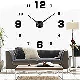 Yosoo DIY 3D Horloge Murale Design Géante Grande Taille Moderne Ronde avec Chiffres pour Décoration Salon Bureau - Style 2, Noire