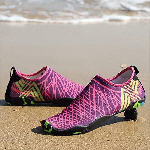 LeKuni Unisex Aquaschuhe Strandschuhe Schwimmschuhe Badeschuhe Wasserschuhe Surfschuhe mit Rutschfeste Sohlen für Damen Herren Kinder Pink