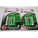 Agfa - 8 pilas recargables AAA Ni-MH para teléfonos inalámbricos Amplicom, Audioline, Binatone, BT, Doro, Gemarc, iDect, MagicBox, Panasonic, Philips, Sagem, SagemCom y Siemens