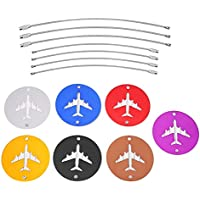 Etiqueta de Equipaje del Viaje 7Pcs Etiqueta Redondo de Maleta de Viaje con Anillos de Acero Etiqueta de Dirección Nombre