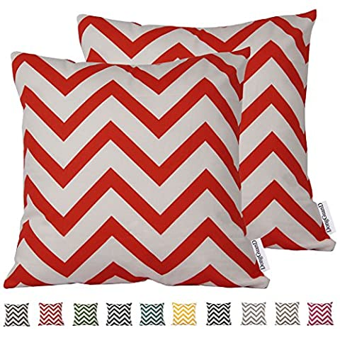 Comoco® 2pc-Pattern Decorative Geometric Thick Canvas Pillowcase Cushion Cover for Sofa Throw Pillow Case(55x55cm,Orange)