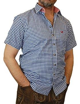 Trachtenhemd Mike kurzarm kariert mit Kontrasten im Kragen und Stick auf der Brusttasche
