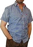 Trachtenhemd Mike kurzarm kariert mit Kontrasten im Kragen und Stick auf der Brusttasche, Größen:XL;Farbe:kobalt - weiss