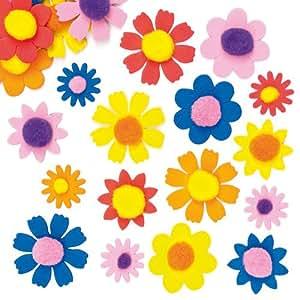 Fiorellini in schiuma con pompon da utilizzare in creazioni per la festa della mamma, per bambini (confezione da 100)