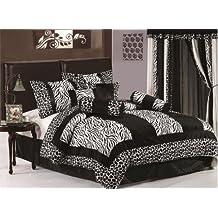 8 Piece Safari - Zebra - Giraffe Print Bed-in-a-bag Black