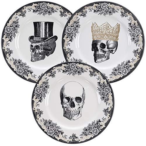 Homelab | Motiv Skull | 3 Teller Set Ø 28 cm mit Totenkopf | 3-tlg. mit 3 Totenschädel Designs | Speiseteller aus Porzellan mit Skelett Kopf, handgemacht | Farben Weiß, Schwarz & Gold