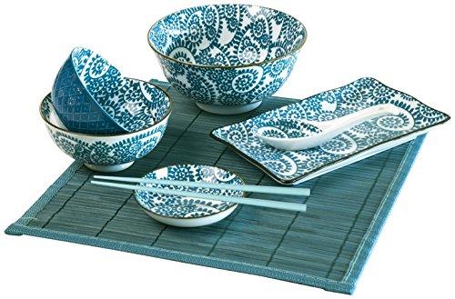 Excelsa Oriented Set Sushi, Porcellana, Blu