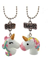 Lot de 2 colliers pour enfants, motif licorne et arc-en-ciel - Inscription « Best Friends Forever »