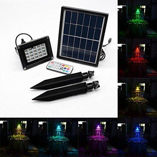 OOFAY Solarbetriebene Sicherheit Überschwemmungslicht 7 Arten intelligenter Modus 20 LED Outdoor RGB 7 Farbwechsel verstellbar Projektor IP65 Wasserdicht Landschaftsbeleuchtung Spot Lights Garten