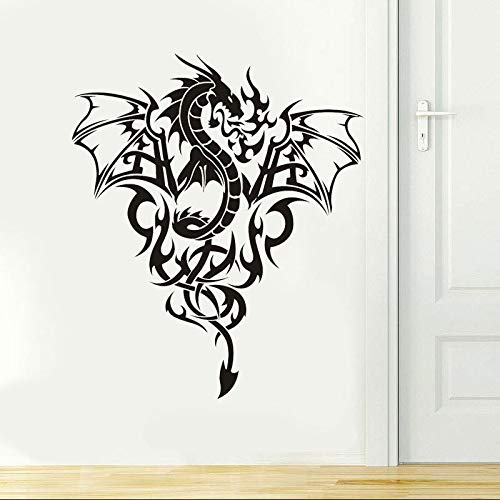 yiyitop Abnehmbare Hochwertige Vinyl Wandkunst Aufkleber Aufkleber Western Dragon Tribal Tattoo Wandkunst Aufkleber Kunst Wohnkultur Papier 57 * 67 cm (Tribal Tattoo Dragon)
