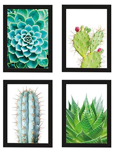PICSonPAPER Poster 4er-Set KAKTEEN, gerahmt DIN A4, Dekoration für Wohn- und Arbeitsräume, Kaktus, Kunstdruck, Wandbild, Poster mit Rahmen, Geschenk (Mit IKEA Fiskbo Schwarz Rahmen)