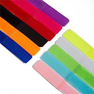 MU New 20pcs / lot cordon magique Velcro enrouleur de câble TV PC Computer fil Dragonne Organisateur gestion Tie 9 Choix de couleurs, pourpre