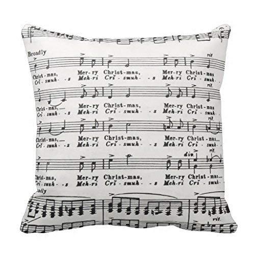 Jxrodekz Christmas Song Sheet Music Dekokissenbezug for Couch Home Decorative Pillow Cover 18 x 18