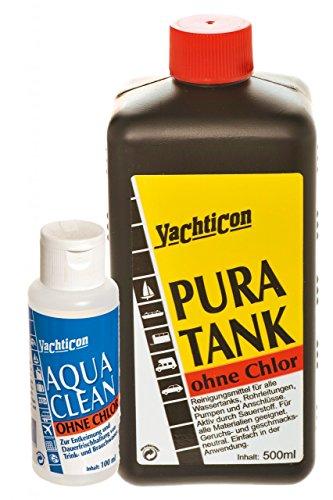 Yachticon Pura Tank 500ml & Aqua Clean AC 1000 ohne Chlor 100ml -